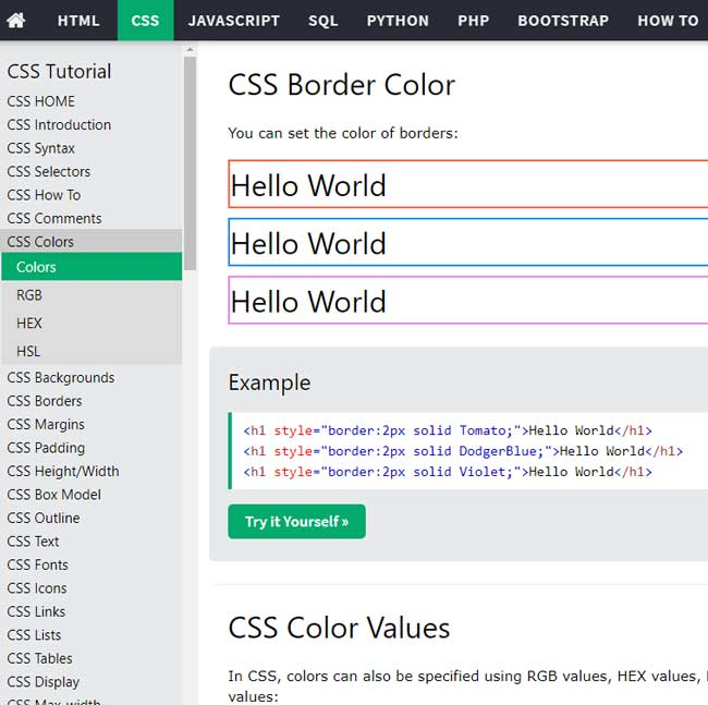 W3schools css attribute page